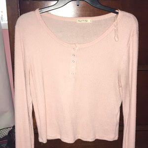 baby pink, long- sleeve shirt